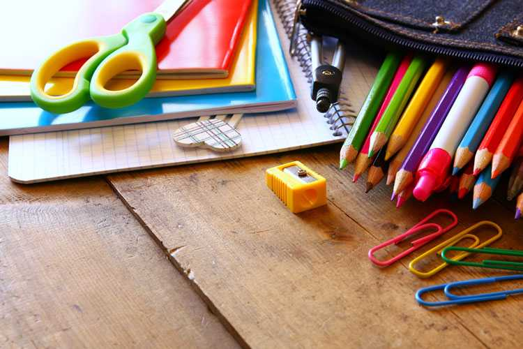 Brightly-colored school supplies