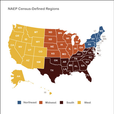 Welcome To The NAEP Data Explorer - Us census regions and divisions map