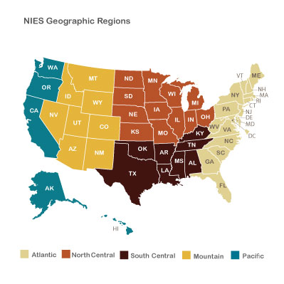 Map Showing Regions Used For Reporting Nies Results