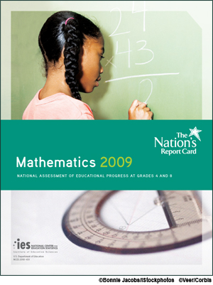 Cover image of The Nation's Report Card: Mathematics 2009 report which shows a girl doing math on a chalk board. Elmements of composite are copyrighted by Bonnie Jacobs/iStockphotos and Veer/Corbis