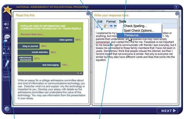 Image of a screenshot of the interface of a computer based assessment that students used for the 2011 Writing assessment.