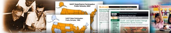 Collage of people and publications illustrating NAEP history