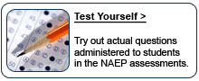 NAEP Test Yourself.  Try out actual questions administered to students in the NAEP assessments.