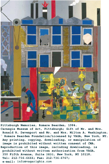 Pittsburgh Memories, Romare Bearden, 1984. Carnegie Museum of Art, Pittsburgh; gift of Mr. and Mrs. Ronald R. Davenport and Mr. and Mrs. Milton A. Washington. Romare Bearden Foundation/Licensed by VAGA, New York, NY. Any printing, copying, downloading, or manipulation of image is prohibited without written consent of CMA. Reproduction of this image, including downloading, is prohibited without written authorization from VAGA, 350 Fifth Avenue, Suite 2820, New York, NY 10118. Tel: 212-736-6666; Fax: 212-736-6767; e-mail: info@vagarights.com