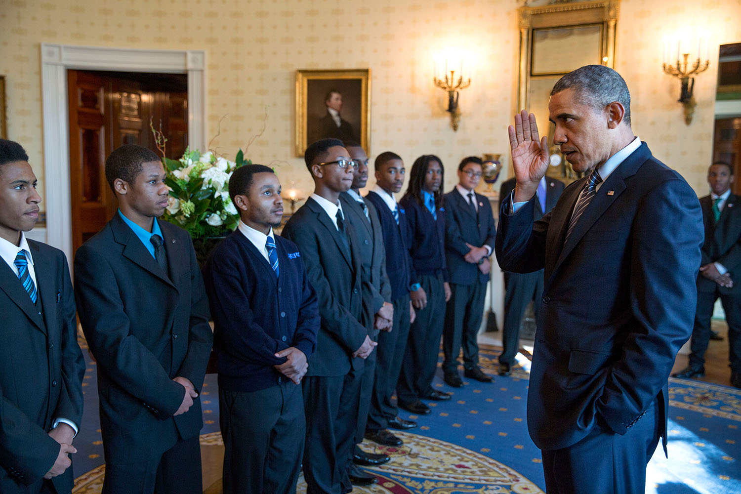 President Obama addresses young high school students.