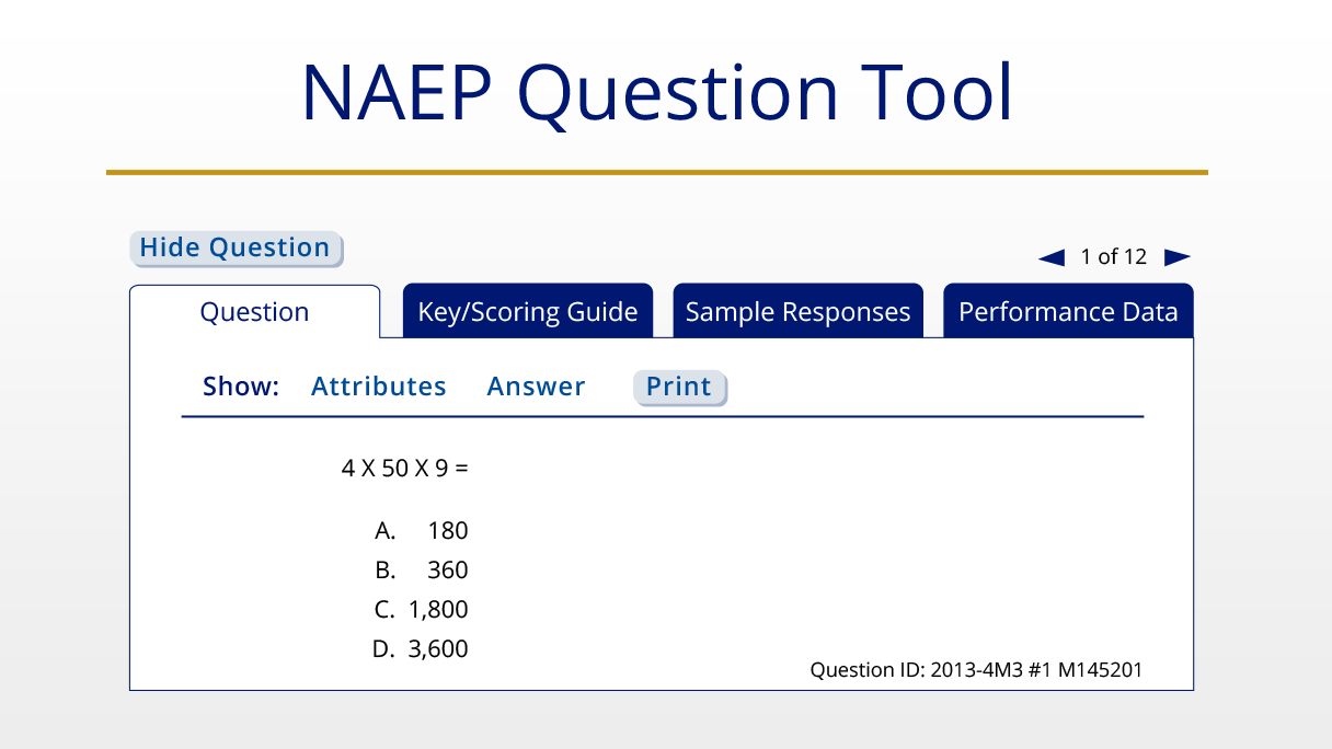 Sample NAEP questions featured on the NAEP Questions Tool.