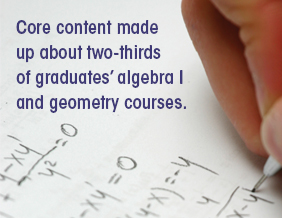 Core content made up about two-thirds of graduates' algebra I and geometry courses.