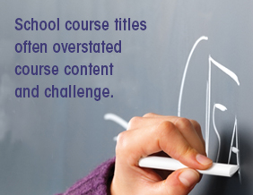 School course titles often overstated course content and challenge.