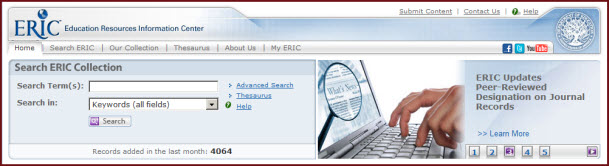 Screen capture of basic search form on ERIC
