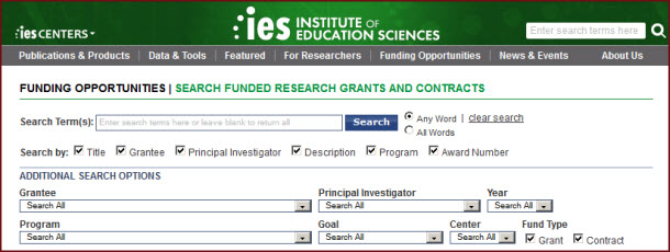 Screen capture of search for winning grant proposals on IES website