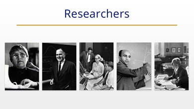 Images of researchers, statisticians, mathematicians.