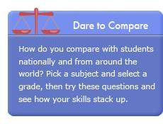 Dare to Compare. How do you compare with students nationally and from around the world? Pick a subject and select a grade, then try these questions and see how your skills stack up.