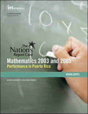 Cover of the 2005 NAEP Mathematics Performance in Puerto Rico Highlights Report