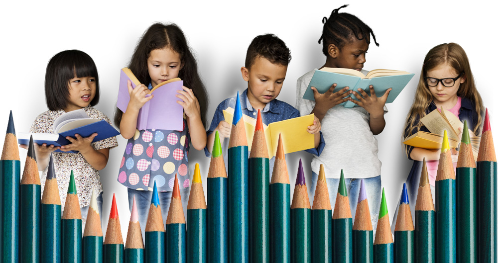 kids reading with a bar graph made of colored pencils over top