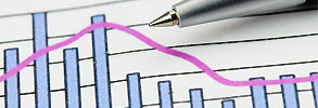 A pen lying on a bar/line graph