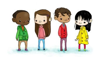 cartoon rendering of group of children